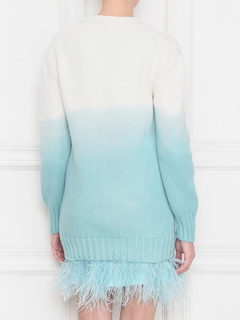 Вязанное платье с отделкой из страусиных перьев - МодельВерхНиз1