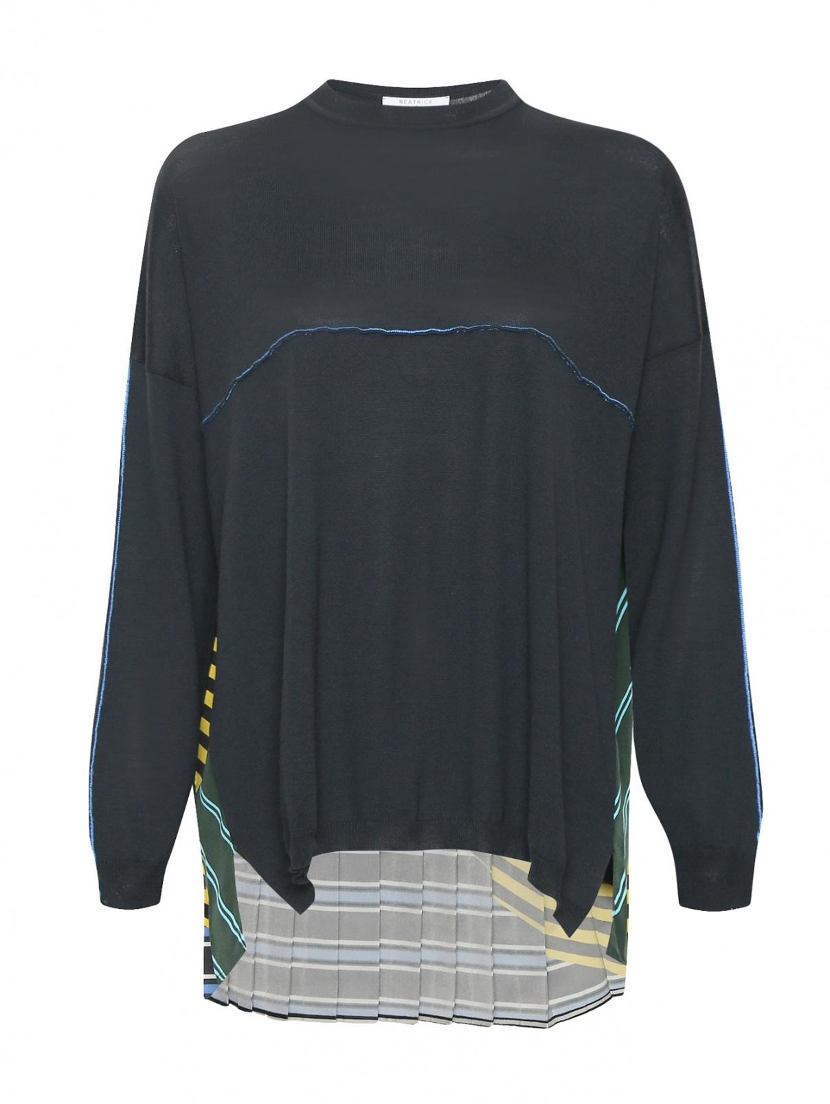 Джемпер из шерсти с контрастной вставкой Beatrice  –  Общий вид  – Цвет:  Мультиколор