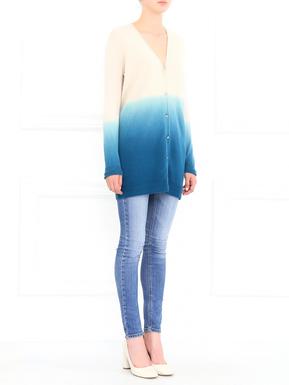 Кардиган из шерсти и кашемира Versace Collection  –  Модель Общий вид  – Цвет:  Бежевый