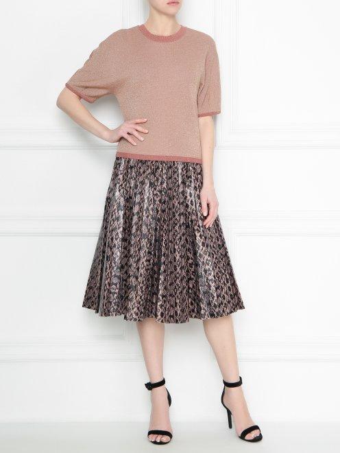 Плиссированная юбка из кожи с узором - Общий вид
