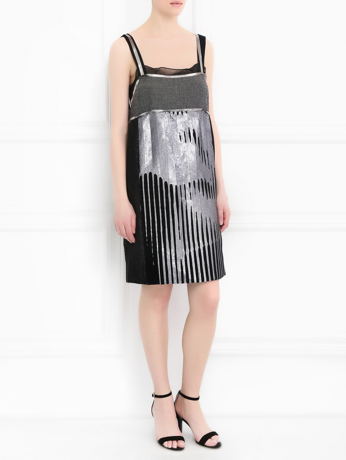 Платье-мини декорированное пайетками Philosophy di Alberta Ferretti  –  Модель Общий вид  – Цвет:  Серый