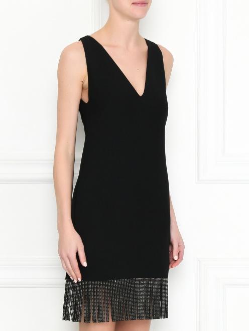 Платье из смешанной шерсти с бахромой - МодельВерхНиз