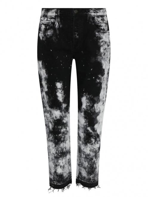 Укороченные джинсы из темного денима с узором - Общий вид