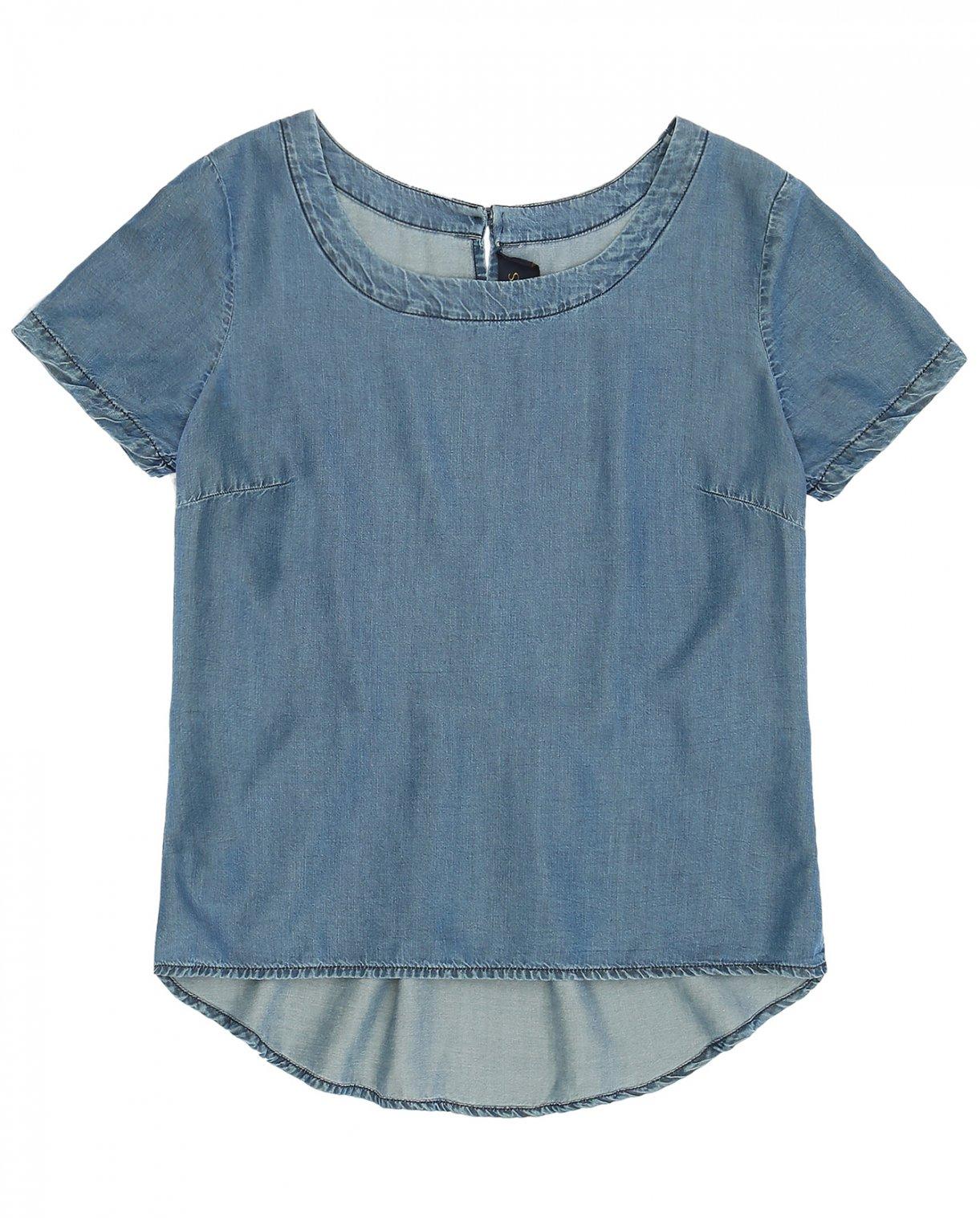 Футболка из легкого денима с застежкой на спине Kaos Jeans  –  Общий вид  – Цвет:  Синий