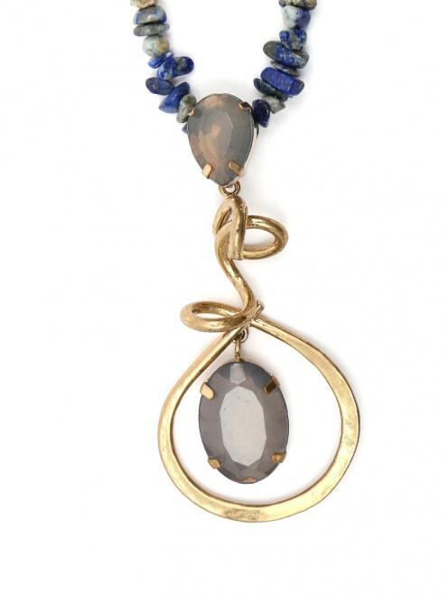 Ожерелье из кварца с металлической подвеской - Деталь