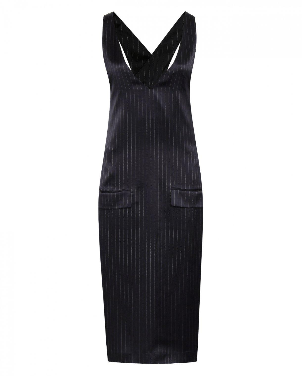 Платье-миди на бретелях с узором полоска DKNY  –  Общий вид