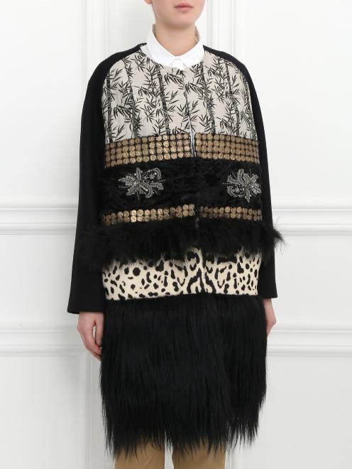 Пальто из шерсти со вставкой из меха и кожи - Модель Верх-Низ