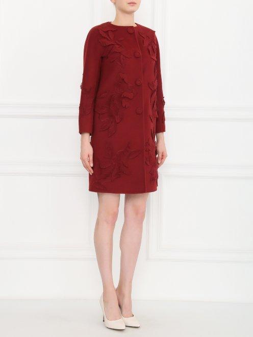 Пальто из шерсти с декором - Модель Общий вид