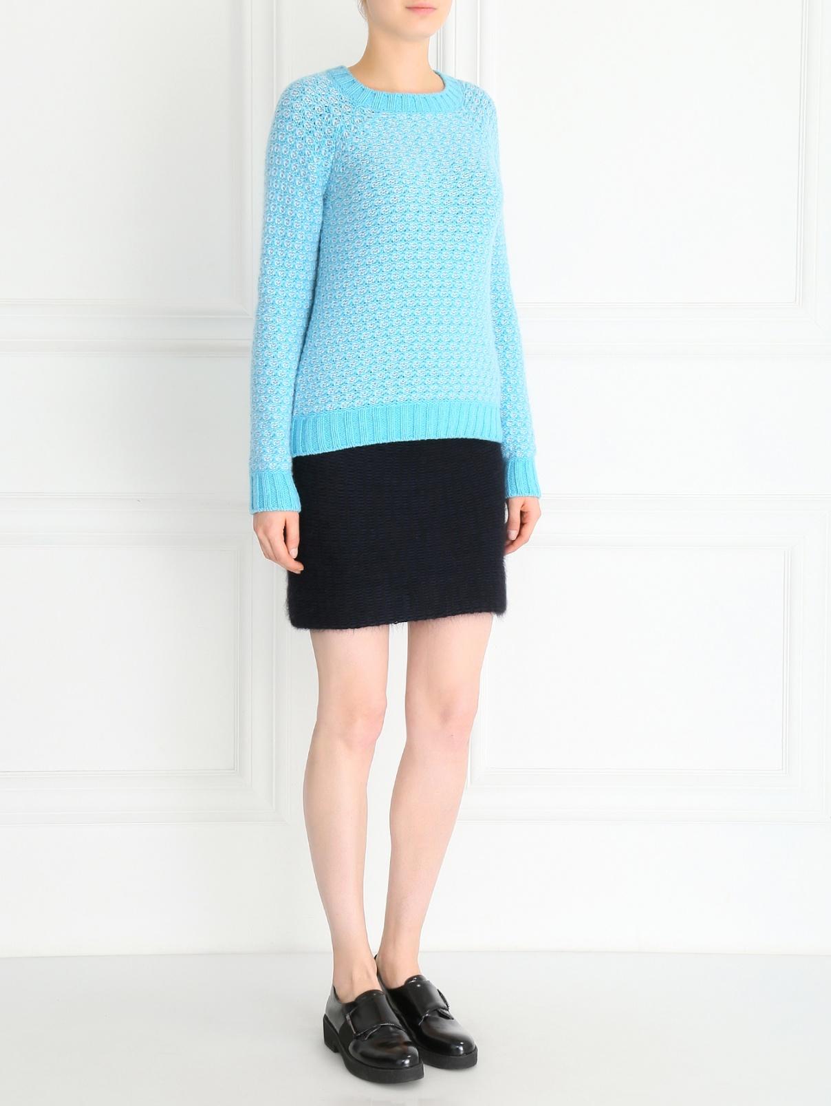 Свитер из кашемира мелкой вязки Fedeli  –  Модель Общий вид  – Цвет:  Синий