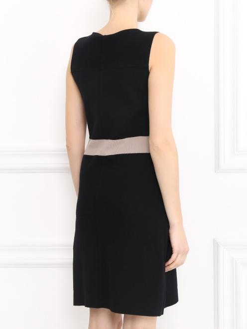 Платье-мини из трикотажа с контрастной вставкой  - Модель Верх-Низ1