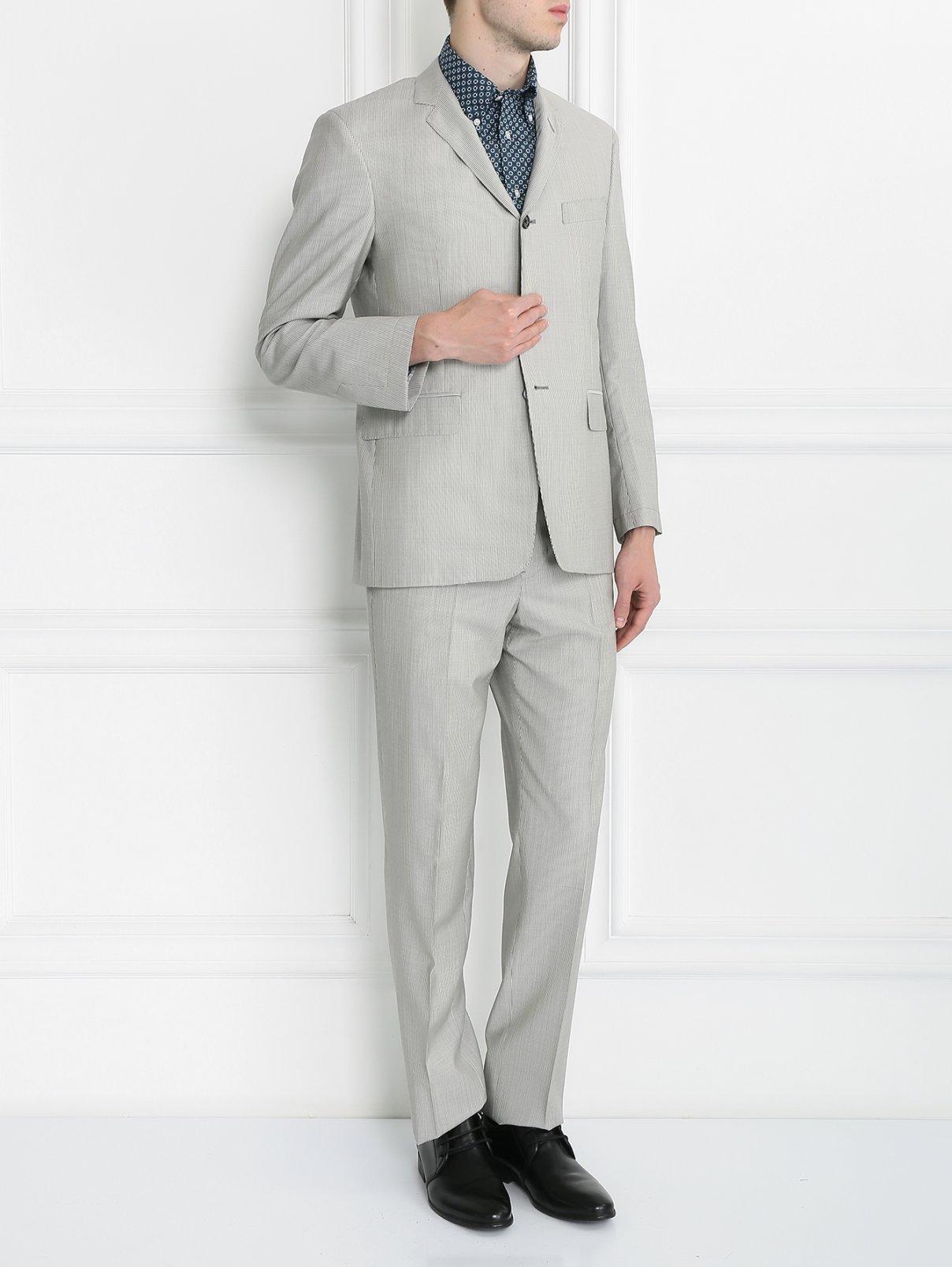 """Костюм из шерсти с узором """"полоска"""" Brooks Brothers  –  Модель Общий вид  – Цвет:  Белый"""