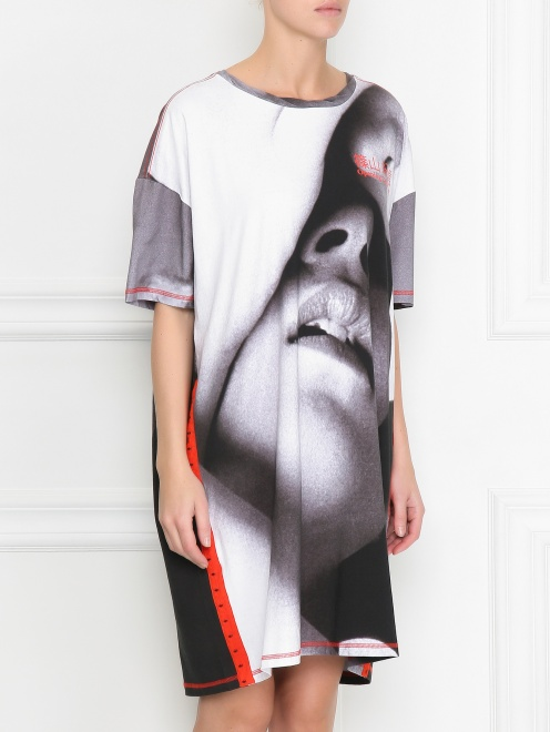 Платье из хлопка свободного кроя с узором - МодельВерхНиз
