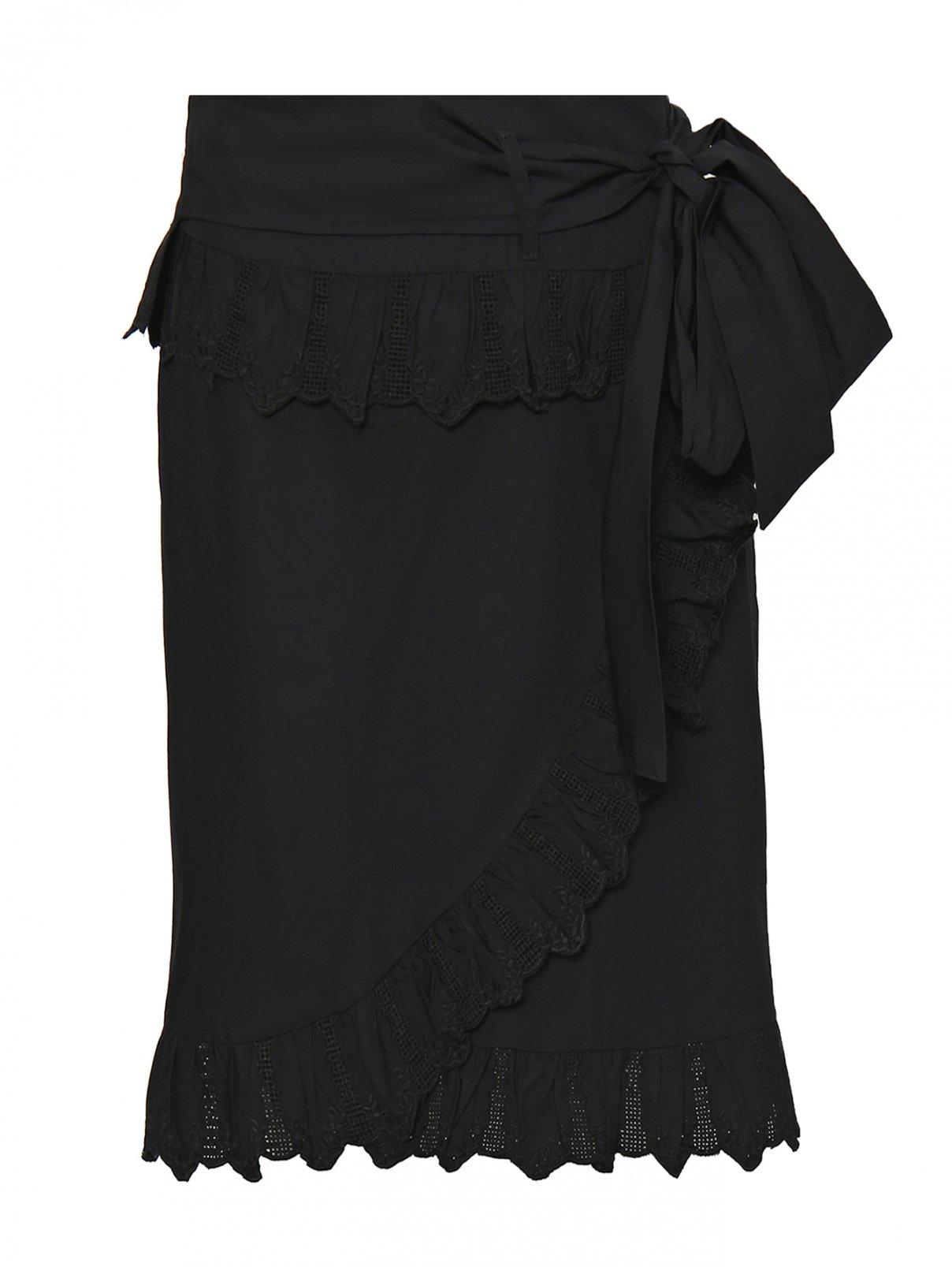Юбка из хлопка с запахом и кружевной отделкой Isabel Marant  –  Общий вид  – Цвет:  Черный