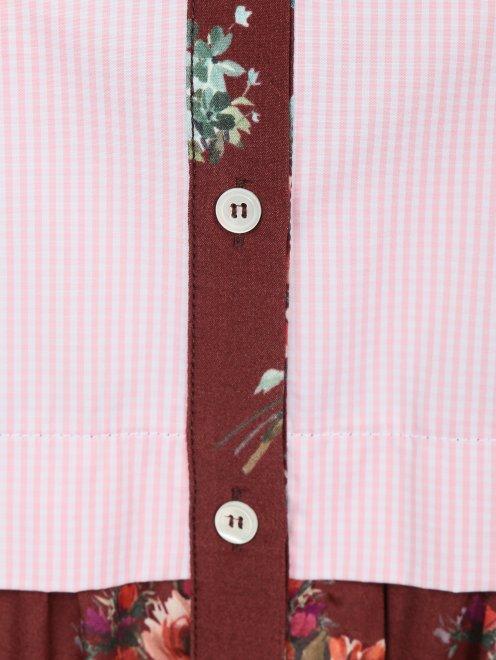 Блуза из хлопка и вискозы с контрастными вставками - Деталь1