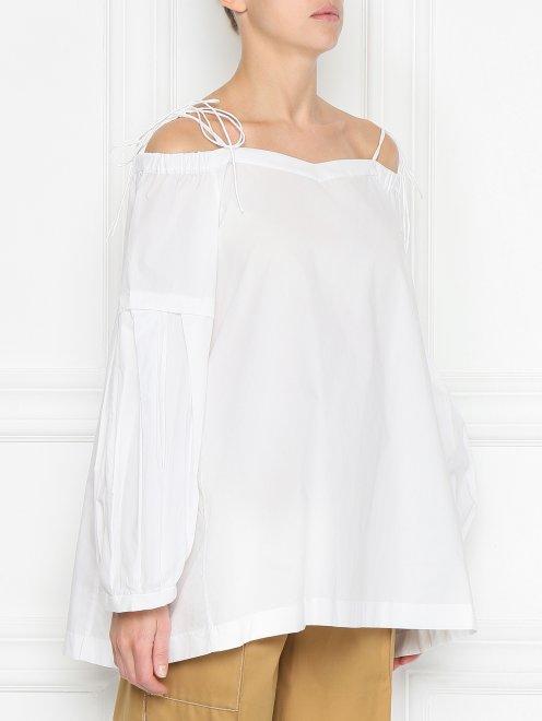 Блуза из хлопка с открытыми плечами - МодельВерхНиз