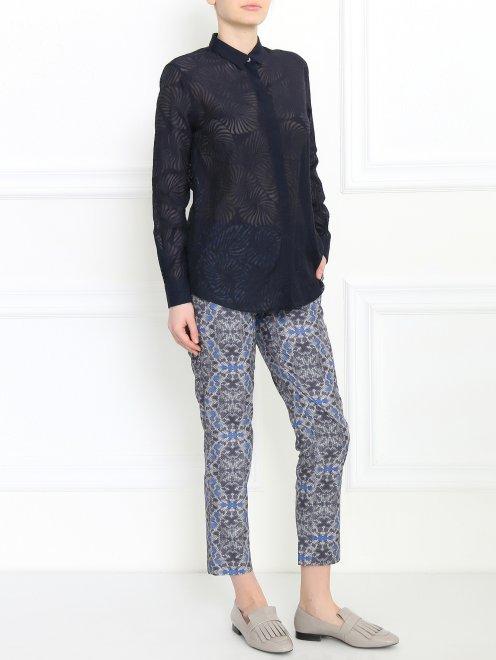 Укороченные брюки из полиэстера с узором - Общий вид