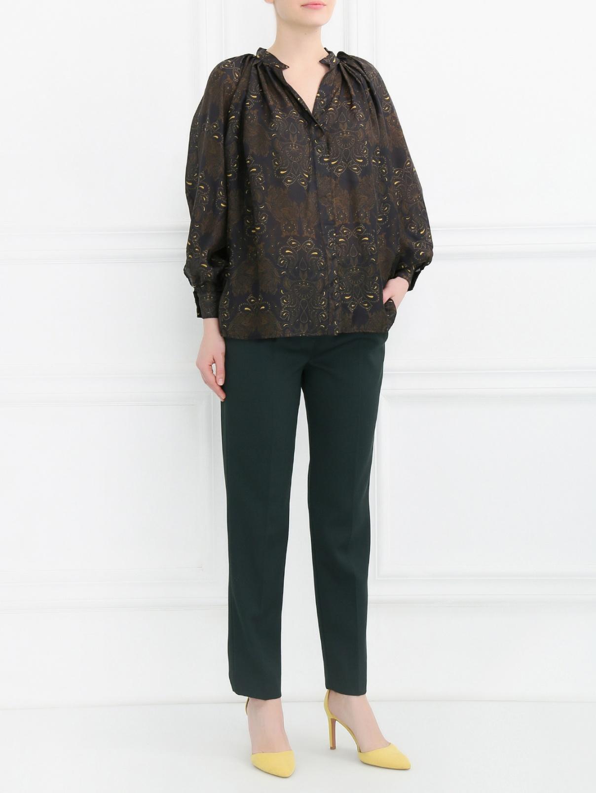 Блуза из шелка свободного кроя с узором Dead Meat  –  Модель Общий вид  – Цвет:  Узор