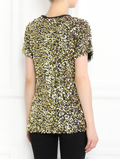 Блуза из хлопка декорированная пайетками - Модель Верх-Низ1