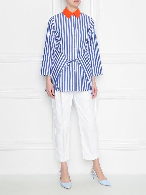 Блуза из хлопка в полоску с контрастным воротником - Общий вид