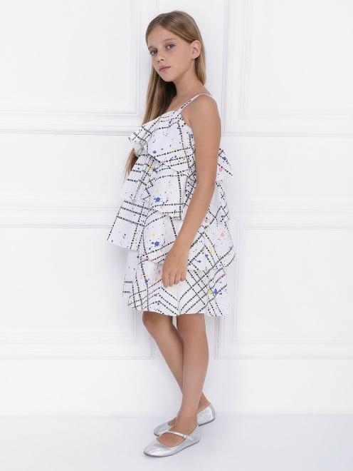 Платье ярусное из хлопка - Общий вид