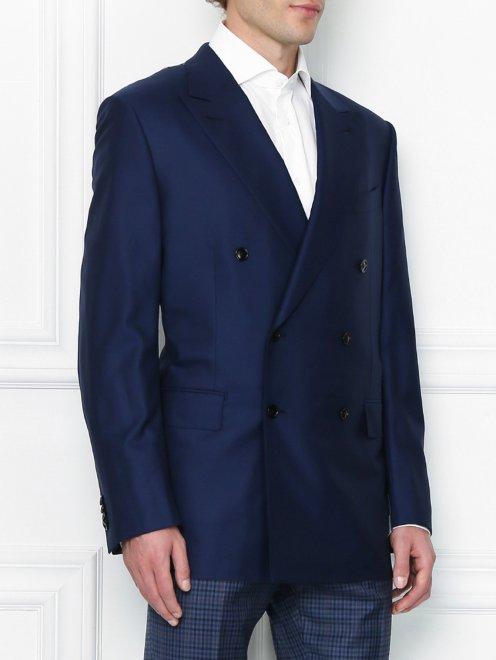 Двубортный пиджак из шерсти - МодельВерхНиз