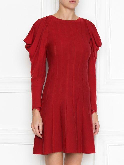 Платье из шерсти с объемными рукавами - МодельВерхНиз