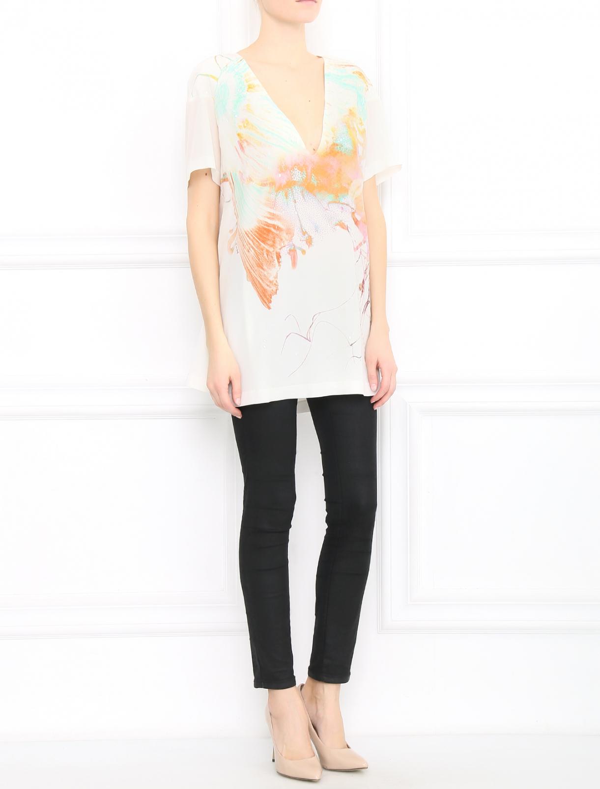 Платье свободного кроя из шелка с узором Barbara Bui  –  Модель Общий вид