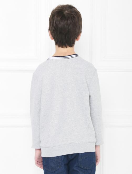 Хлопковый свитшот с принтом - МодельВерхНиз1