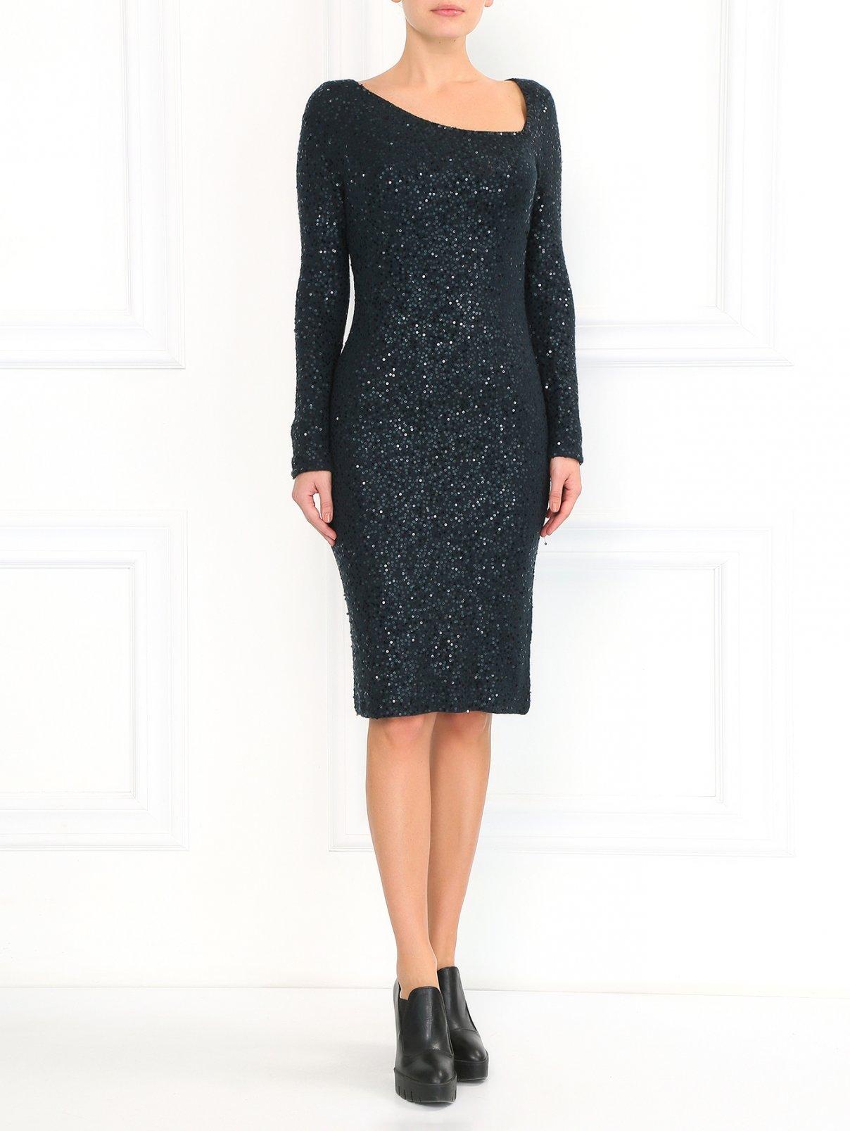 Платье из кашемира и шелка, декорированное пайетками Donna Karan  –  Модель Общий вид