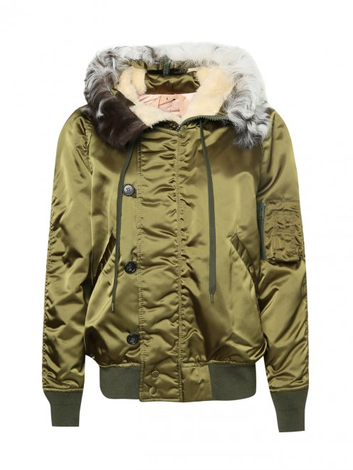 Куртка утепленная с меховым капюшоном - Общий вид