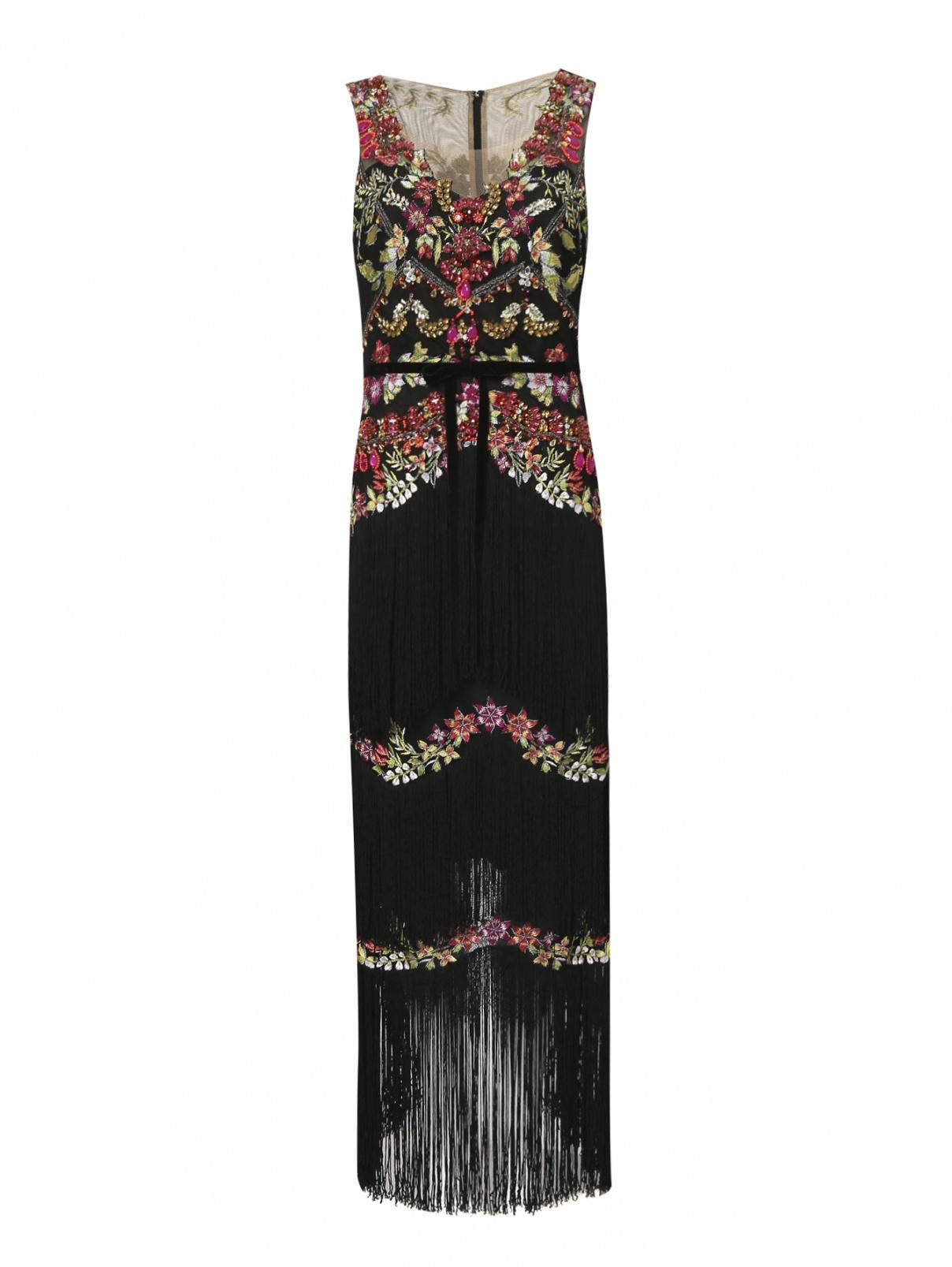 Платье-макси с декоративной вышивкой и бахромой Marchesa Notte  –  Общий вид  – Цвет:  Мультиколор