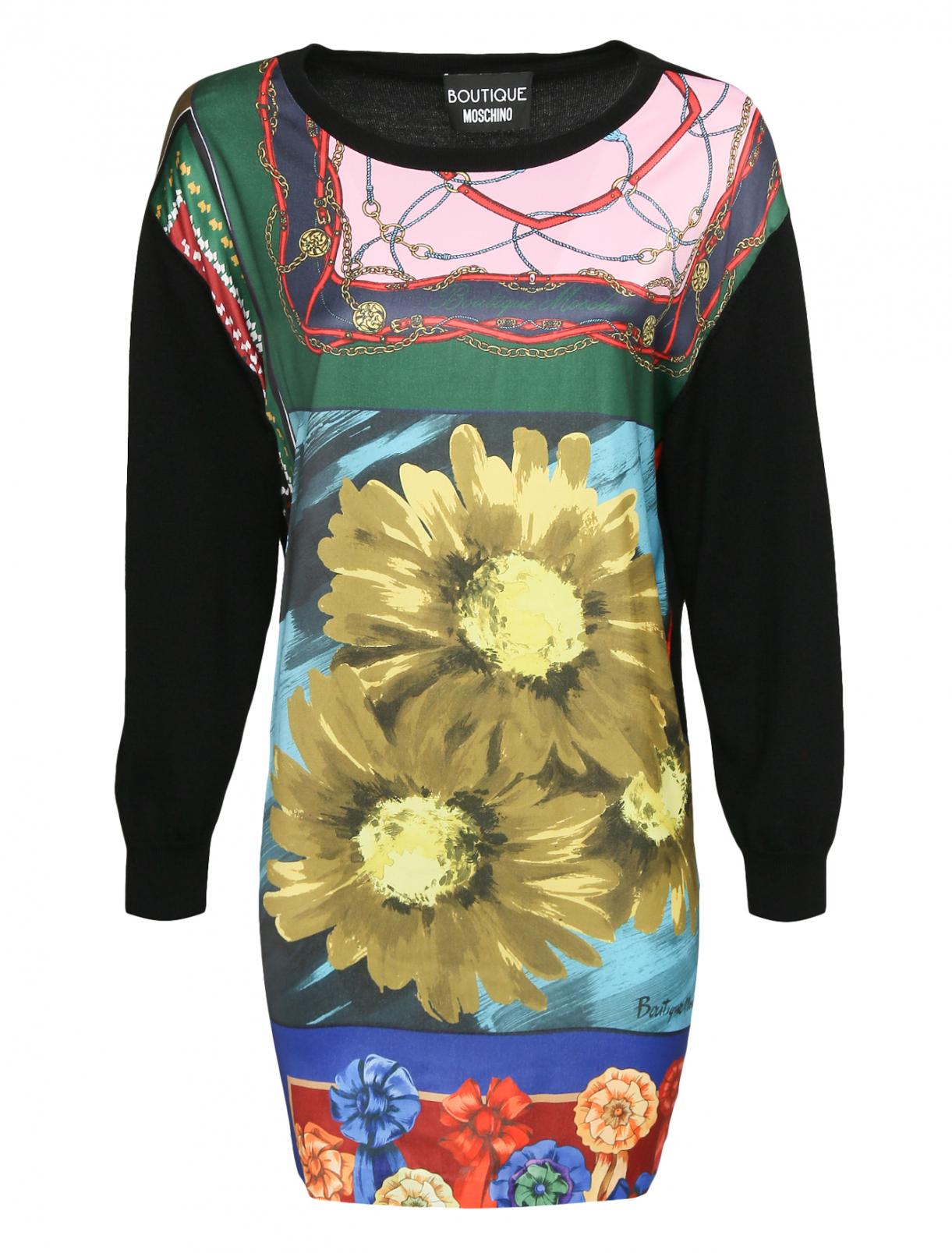 Трикотажное платье из шерсти с узором Moschino Boutique  –  Общий вид