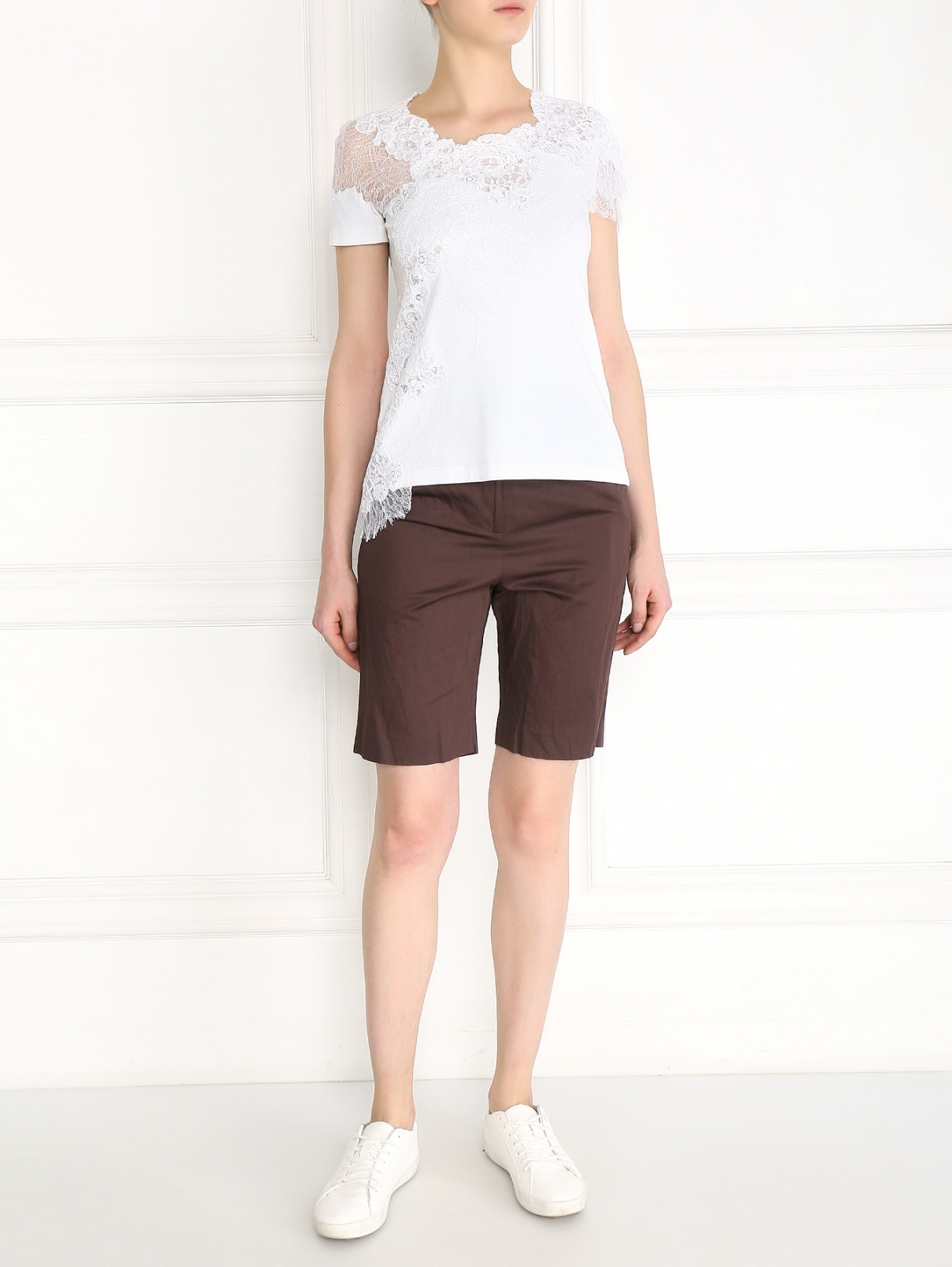 Длинные шорты из хлопка Alena Akhmadullina  –  Модель Общий вид  – Цвет:  Коричневый