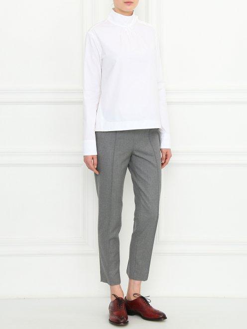 Блуза из хлопка с воротником-стойкой - Общий вид