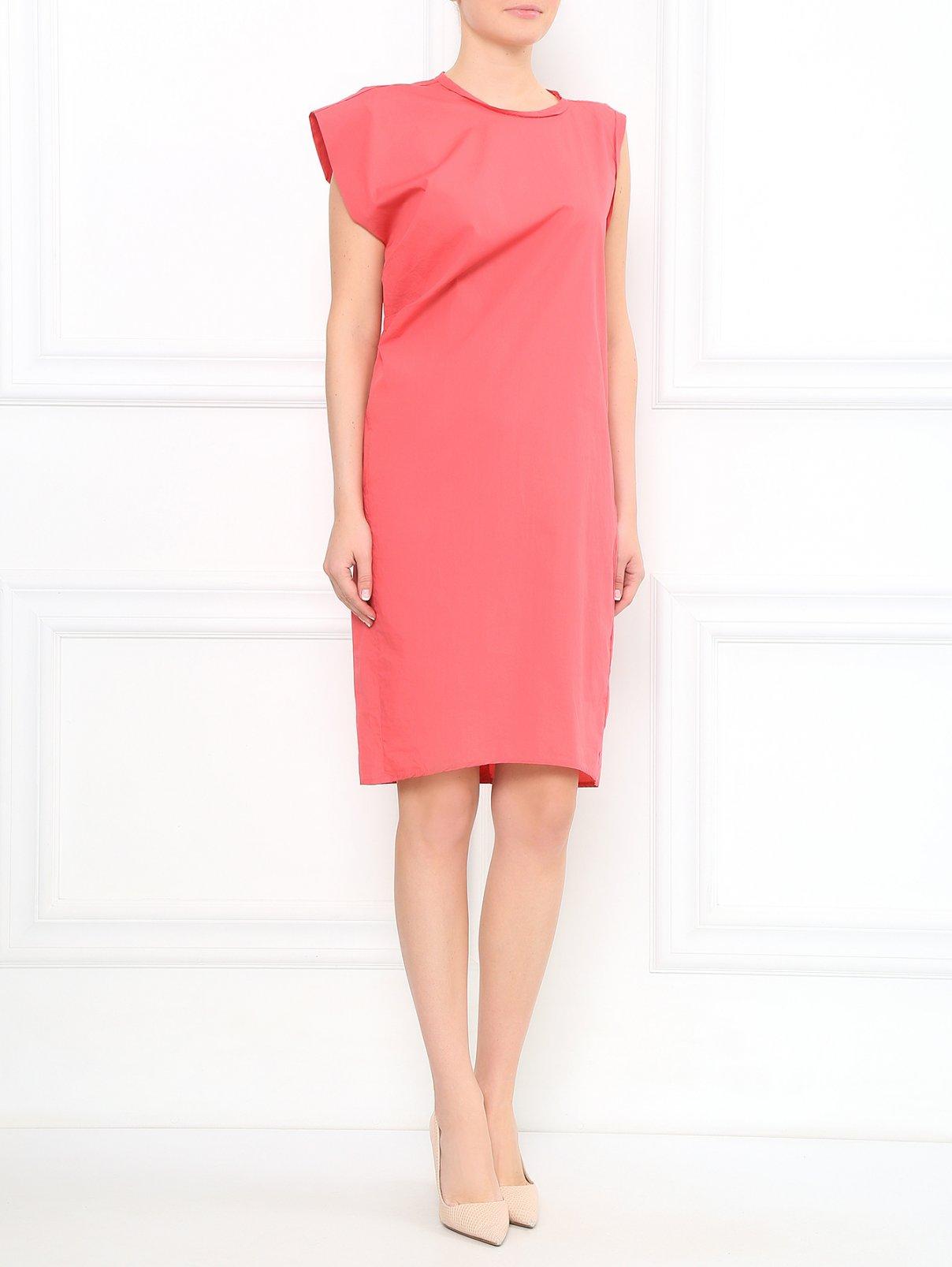 Платье-миди из хлопка с драпировкой Nude  –  Модель Общий вид  – Цвет:  Розовый