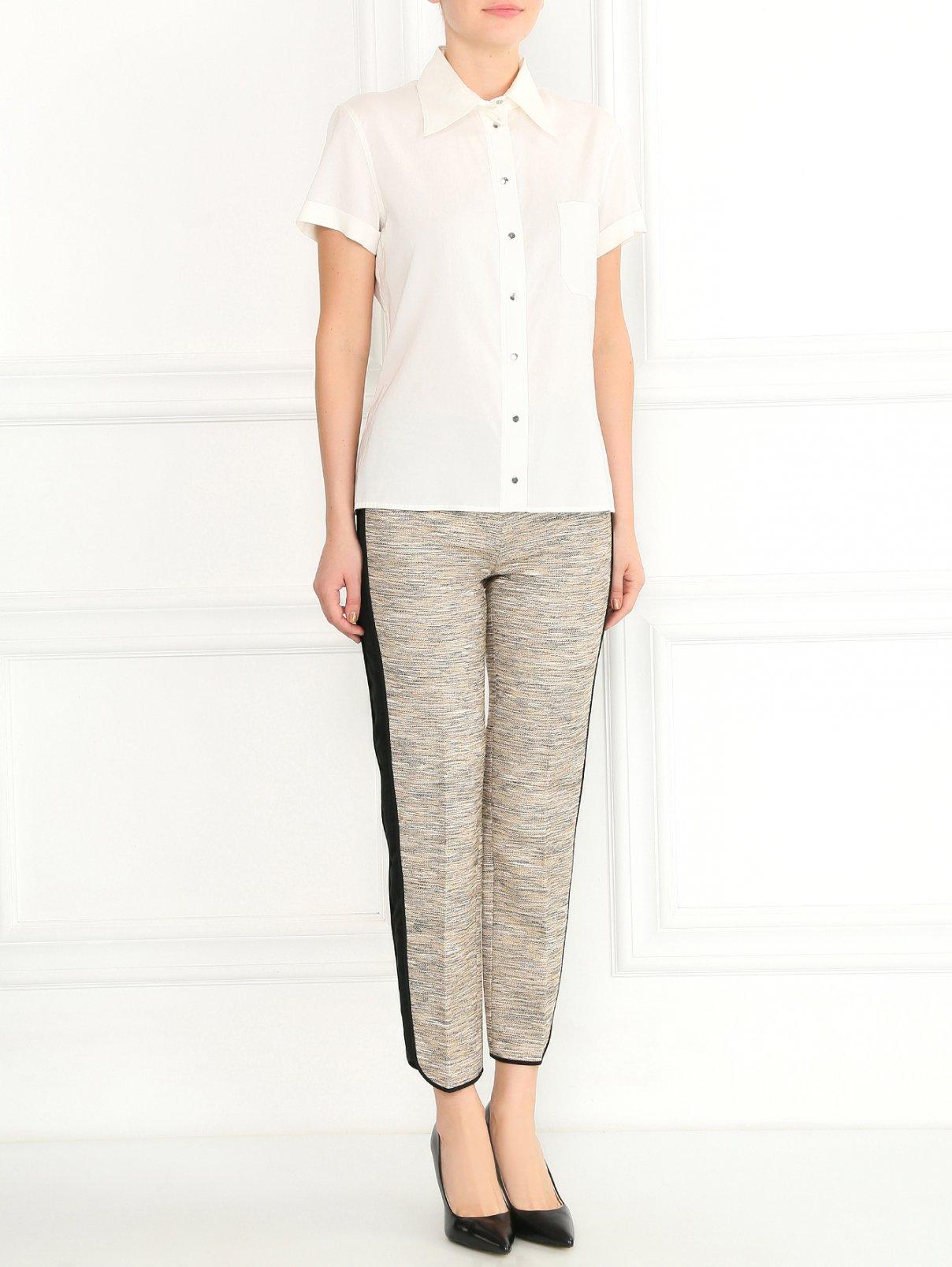 Укороченные брюки из хлопка с контрастными лампасами Alberta Ferretti  –  Модель Общий вид