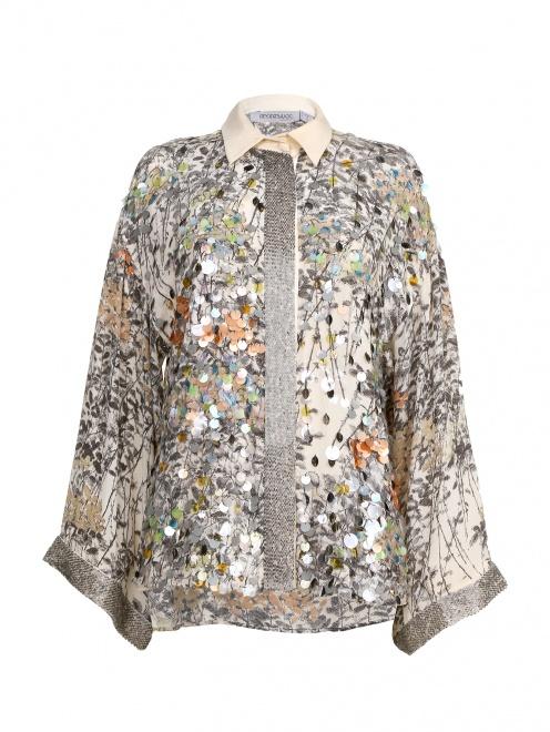 Шелковая блуза с принтом декорированная  пайетками  - Общий вид