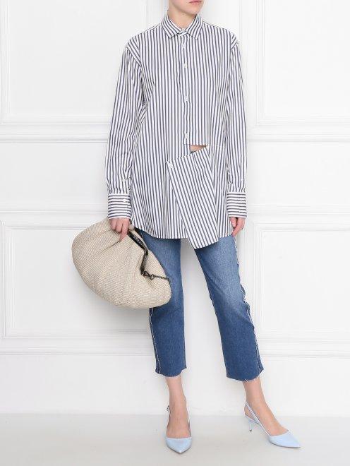 Блуза из хлопка в полоску с асимметричной застежкой - Общий вид