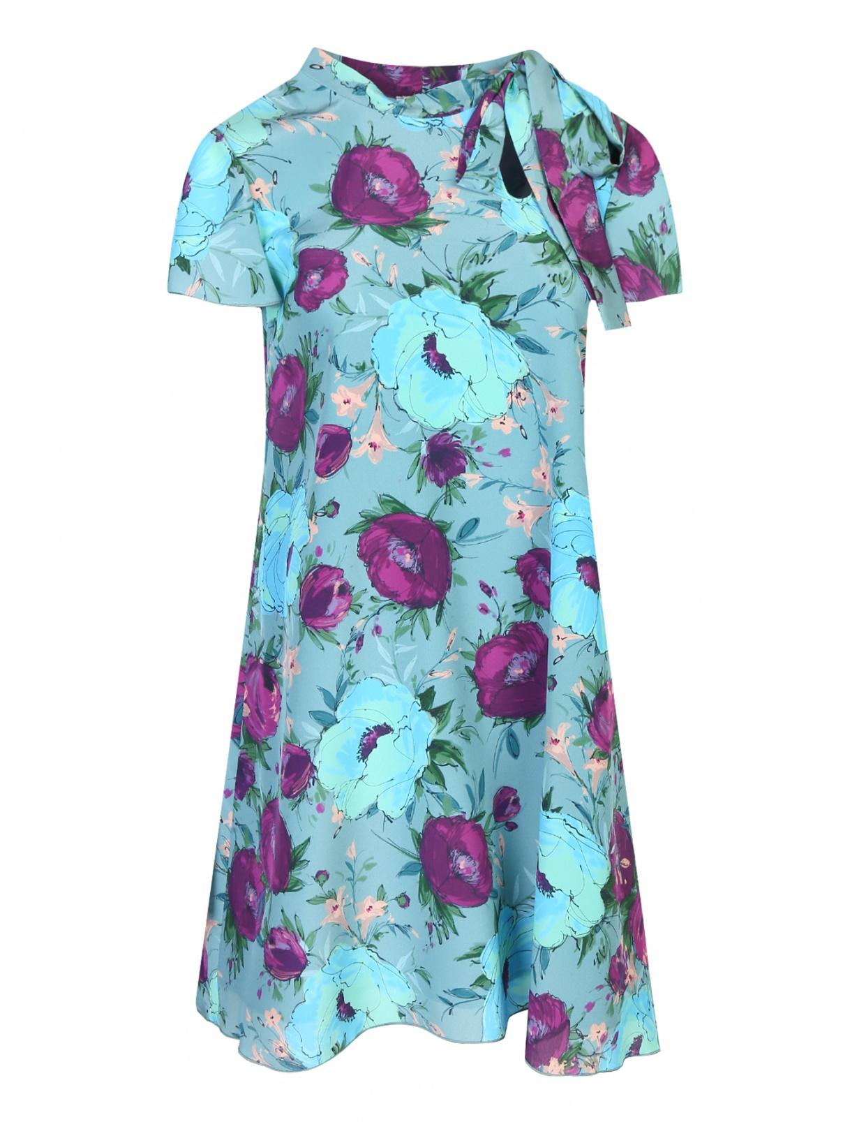 Платье из шелка с цветочным узором Max&Co  –  Общий вид