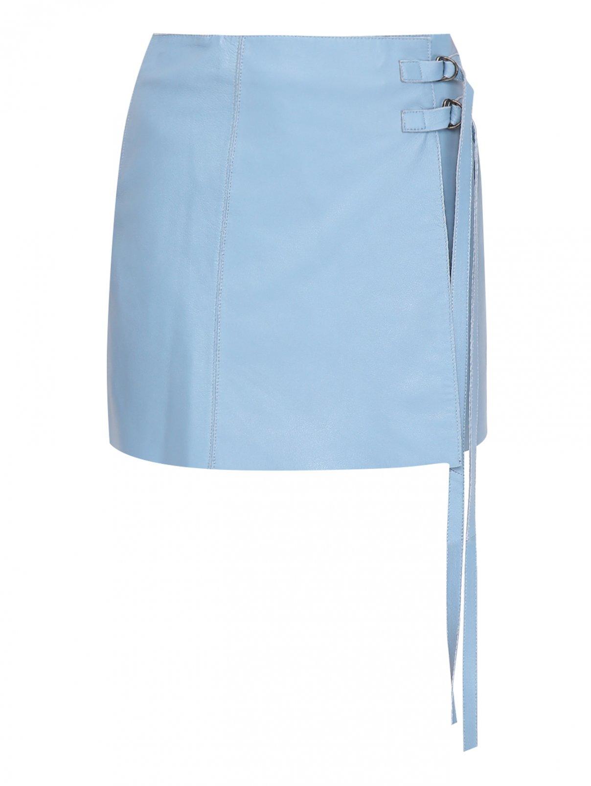 Юбка-мини, с запахом Alysi  –  Общий вид  – Цвет:  Синий