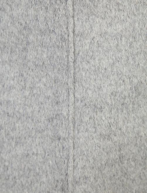 Пальто из шерсти с отделкой из меха с накладными карманами - Деталь