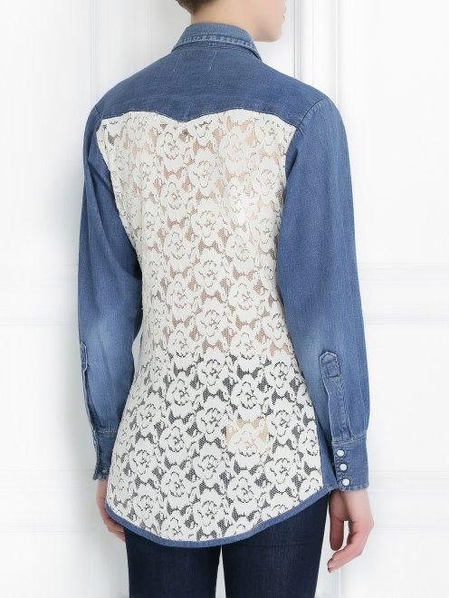 Блуза из денима с аппликацией из бисера  - Модель Верх-Низ1