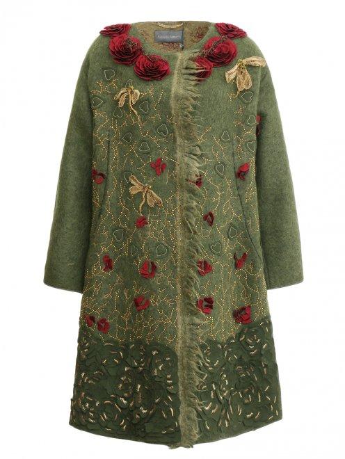 Пальто из шерсти с боковыми карманами декорированное вышивкой  - Общий вид