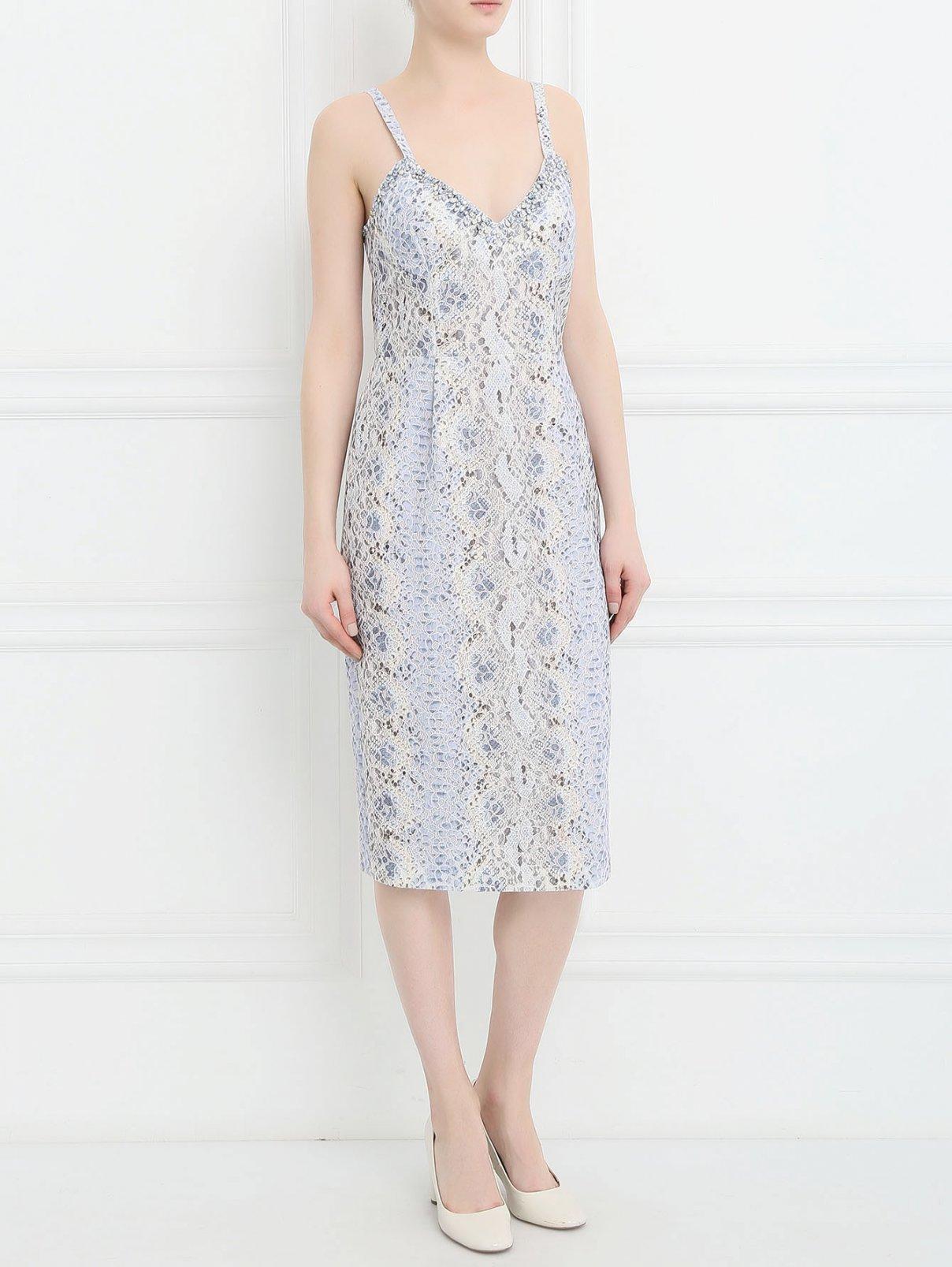 Платье с узором декорированное кристаллами Ermanno Scervino  –  Модель Общий вид