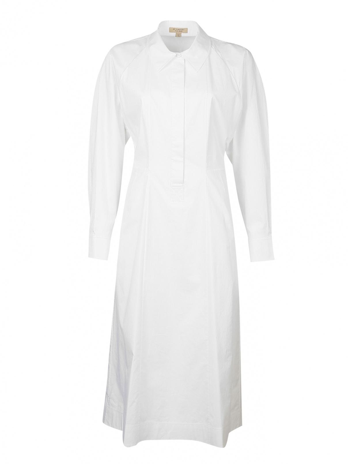 Платье хлопковое со сборкой Burberry  –  Общий вид  – Цвет:  Белый