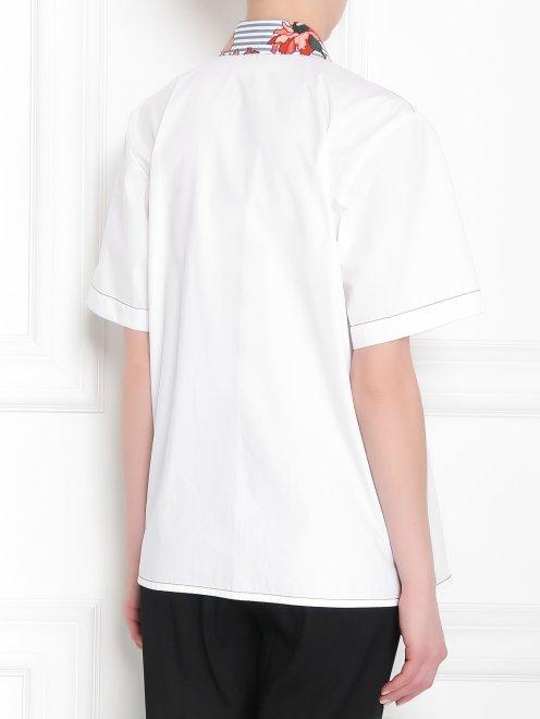 Рубашка из хлопка с коротким рукавом и контрастной отделкой - МодельВерхНиз1