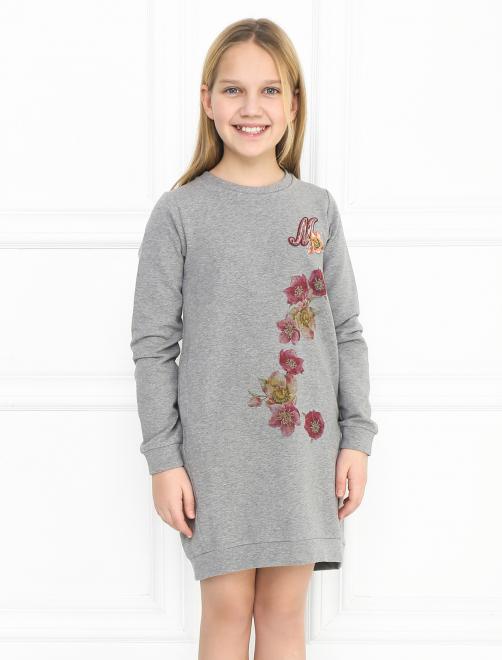 Платье трикотажное с аппликацией - МодельВерхНиз