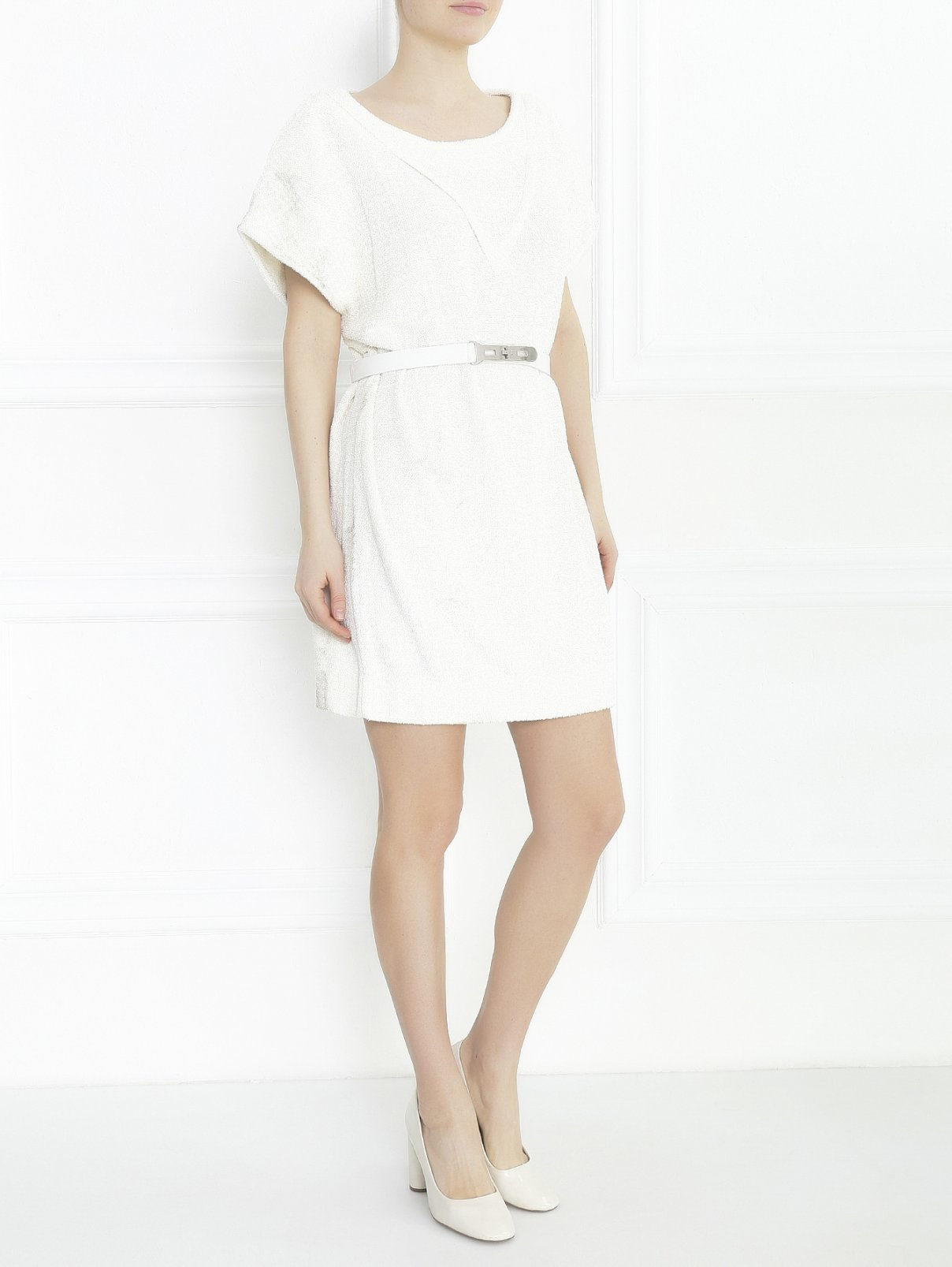 Платье из мохера с напылением Maison Ullens  –  Модель Общий вид  – Цвет:  Белый